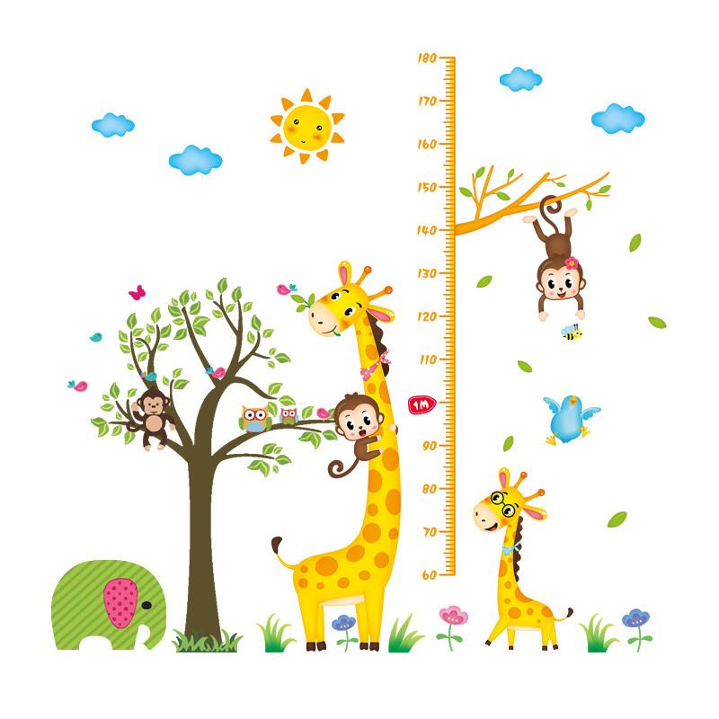儿童房小孩子宝宝量身高墙贴可移除 客厅可爱卡通动漫