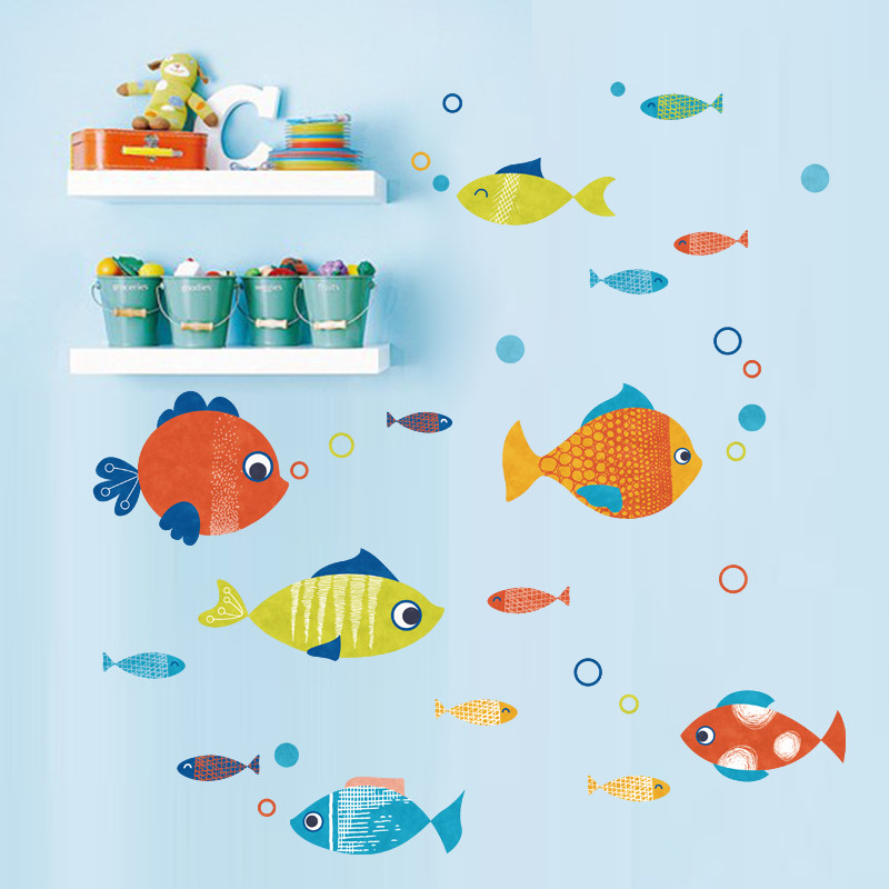 卡通彩色小鱼墙贴纸可爱卧室儿童房墙纸装饰品卫生间浴室随意贴画