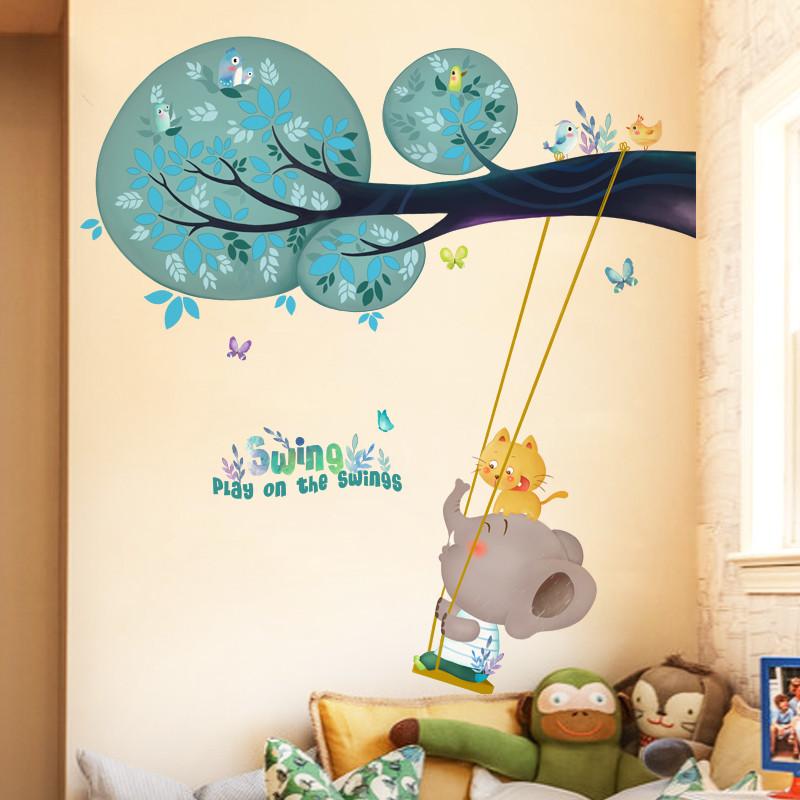 卡通儿童房宝宝卧室动物墙贴纸可爱小象秋千装饰品幼儿园教室贴画