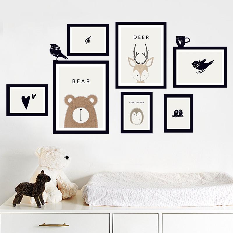 客厅沙发背景墙相框照片墙贴纸 宿舍房间装饰画北欧墙贴可移除图片