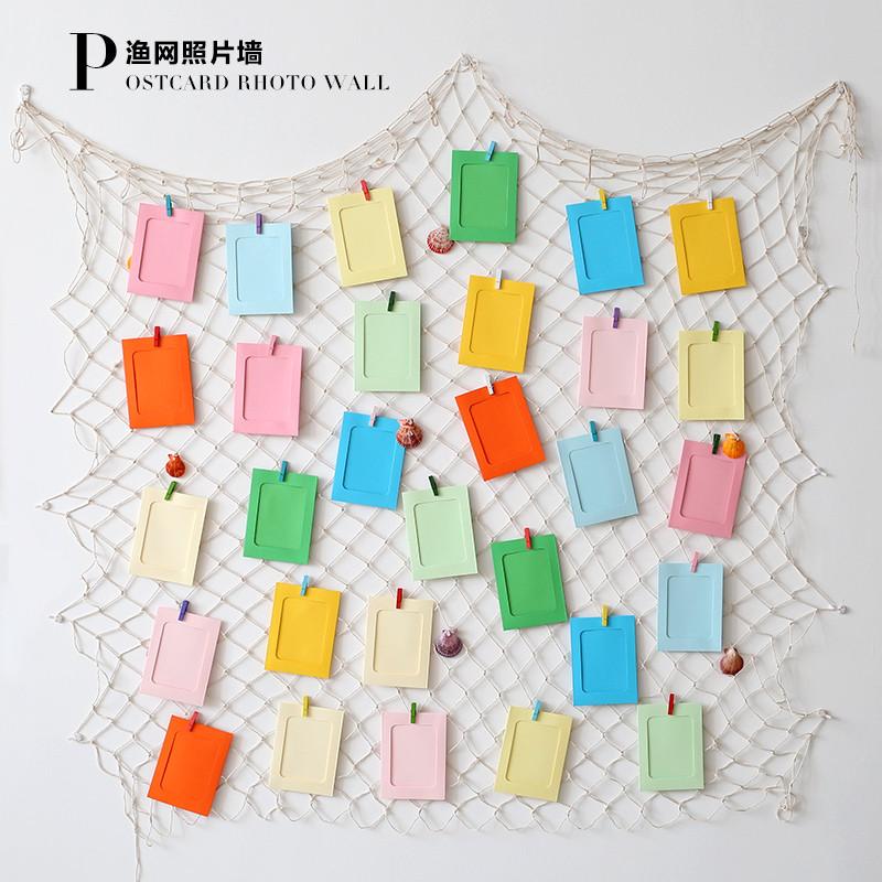 复古麻绳网格夹子明信片装饰照片墙简约渔网留言墙面装饰壁饰创意