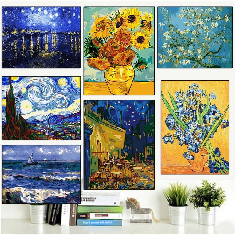 创意diy数字油画欧式风景抽象世界名画梵高-星空下的罗纳河