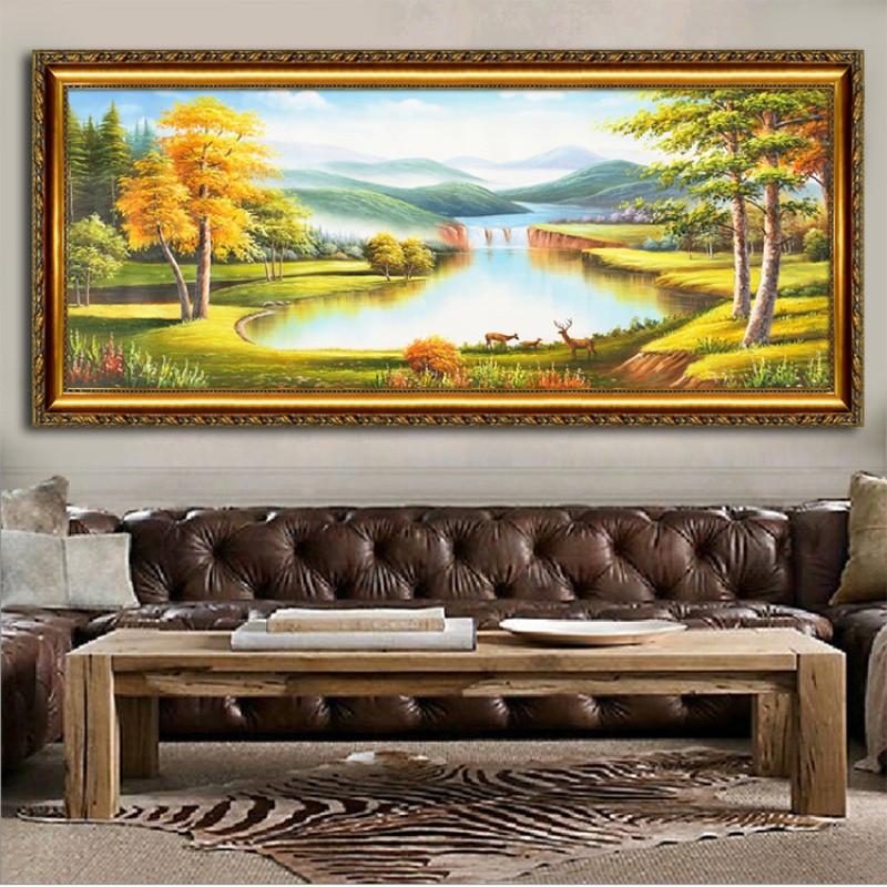 纯手绘欧式客厅风景油画聚宝盆福鹿风水装饰画背景墙山水挂画定制