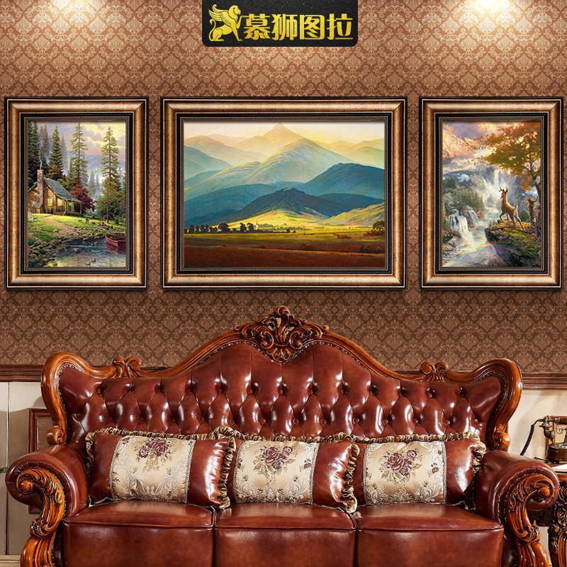 巨人山客厅装饰画墙面欧式沙发后背景墙挂画油画美式简欧壁画墙画