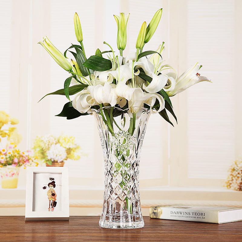 玻璃花瓶摆件透明绿萝水培百合插花干花落地客厅大号富贵竹花瓶