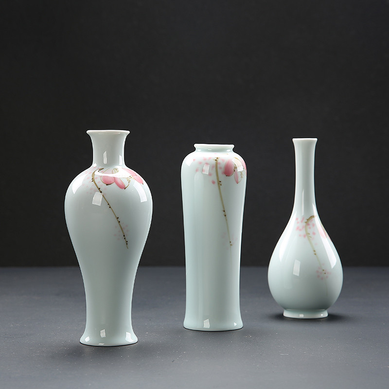 龙泉青瓷摆件手绘小花瓶水养植物器皿铜钱草水培绿萝容器陶瓷