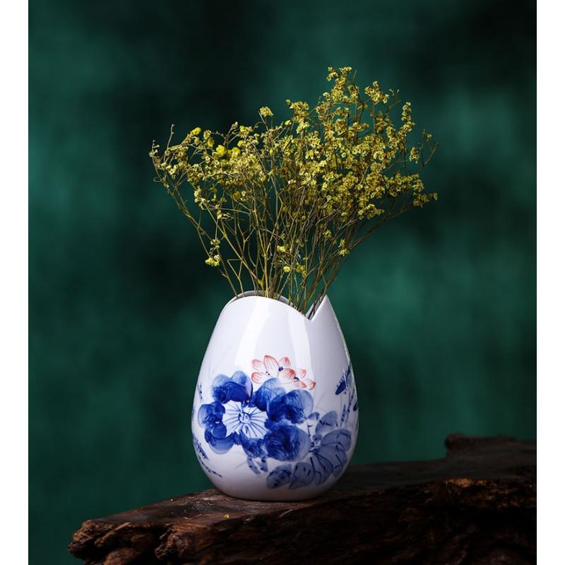 景德镇陶瓷器 手绘青花瓷荷韵小花瓶水养花插 创意工艺品装饰摆件