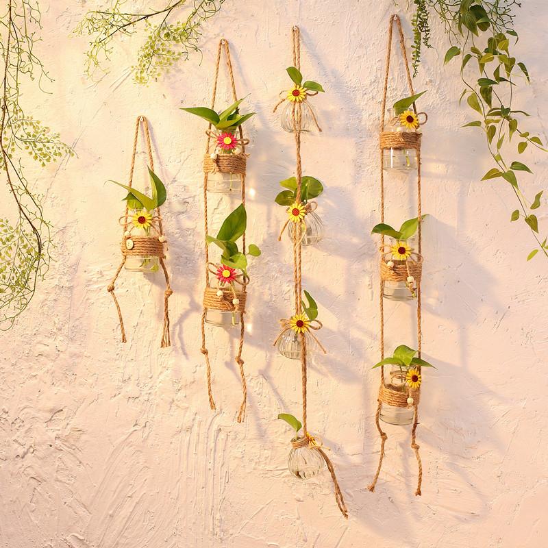 小清新悬壁挂玻璃花瓶水培植物玻璃瓶透明麻绳小吊瓶装饰风铃挂件图片