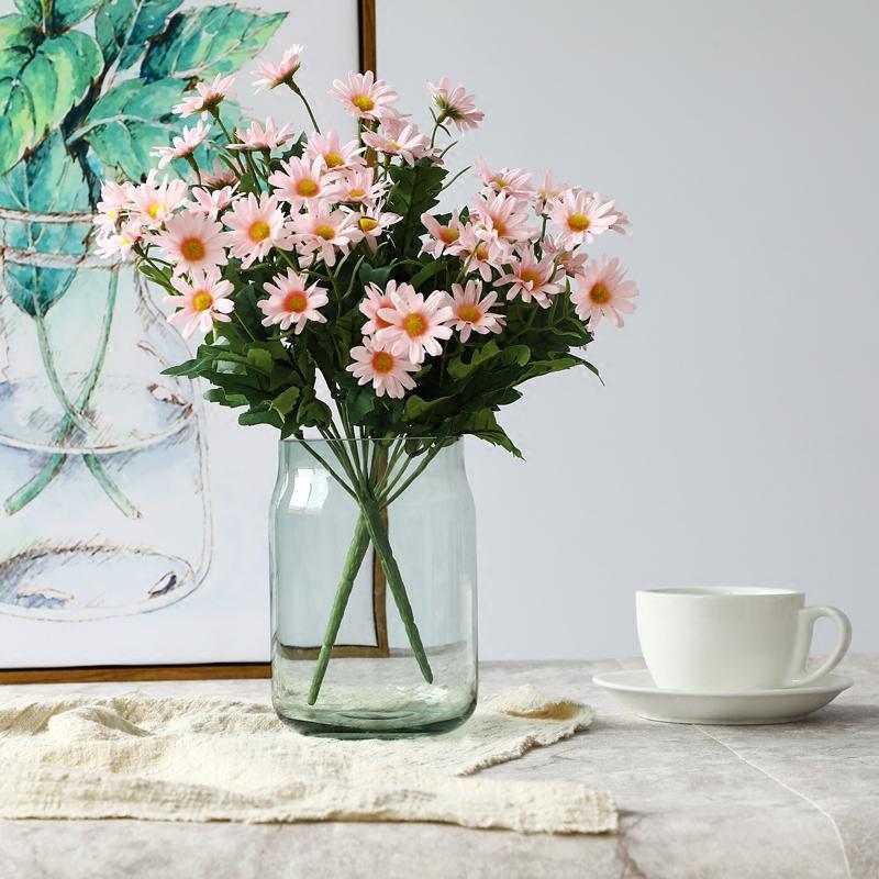 北欧透明玻璃花瓶仿真花小雏菊套装小清新摆件客厅餐桌插花装饰品