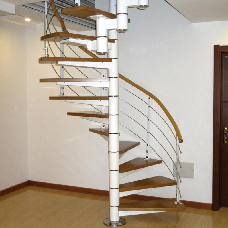 蓝伦索旋转楼梯 室内阁楼钢木楼梯 现代简约复式楼梯