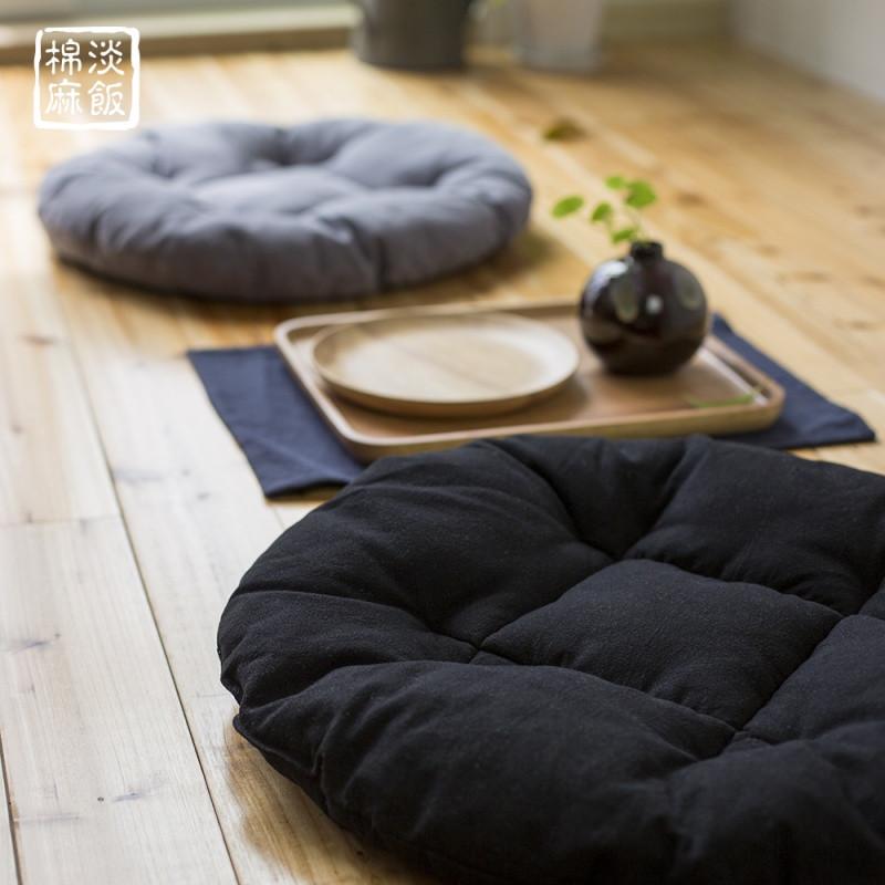 井字圆形榻榻米亚麻坐垫 棉麻绵软轻薄地板飘窗宠物垫