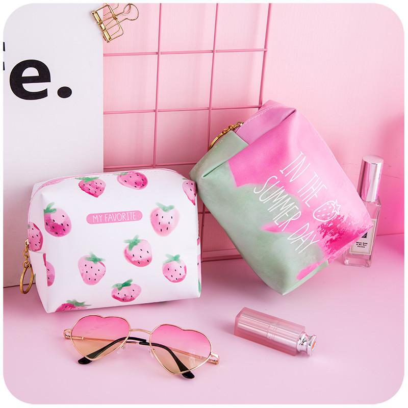 甜美可爱学生小清新粉色草莓化妆包日系少女心软妹便携洗漱收纳包