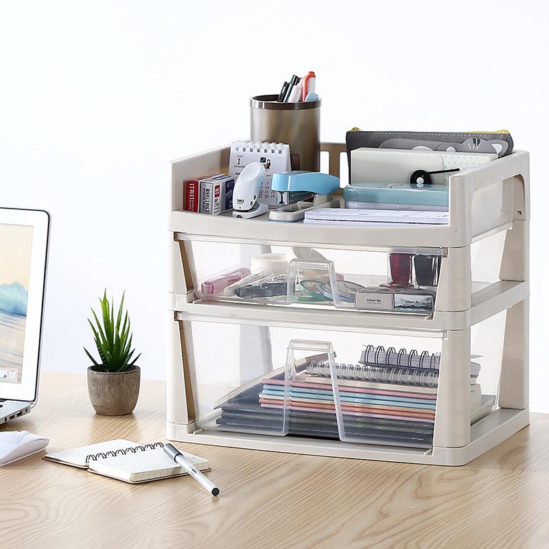 办公桌收纳办公室置物架桌面收纳架多层文具文件收纳盒抽屉式塑料图片