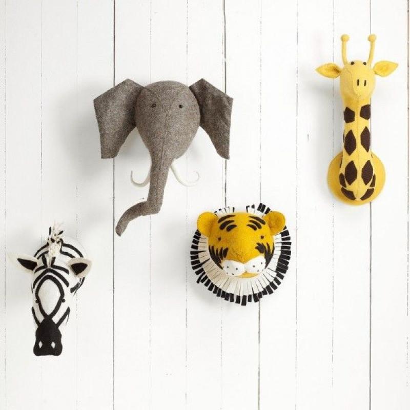 北欧ins个性儿童房服装店立体羊毛毡长颈鹿动物头墙饰