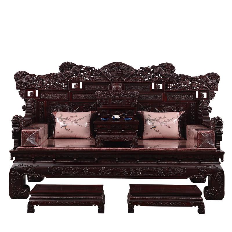 祥蕴阁红木黑酸枝木手工雕刻罗汉床阔叶黄檀豪华中式休闲卧榻组合