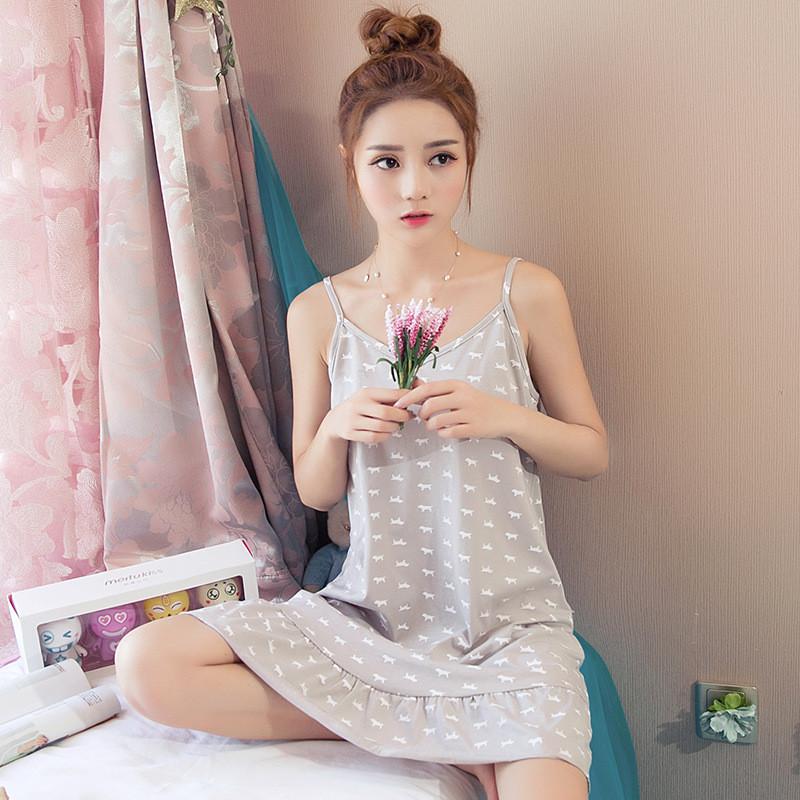 tba 少女睡衣吊带睡衣纯棉可爱睡裙女士