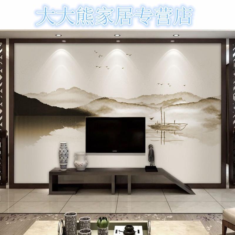 电视背景墙壁纸中式泼墨水墨山水客厅卧室书房黑白风景墙纸布