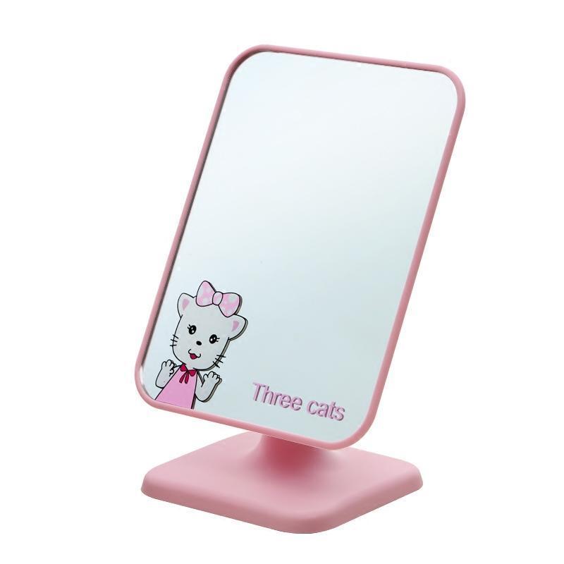 桌面台式化妆镜随身镜小镜子迷你可爱卡通公主学生宿舍镜