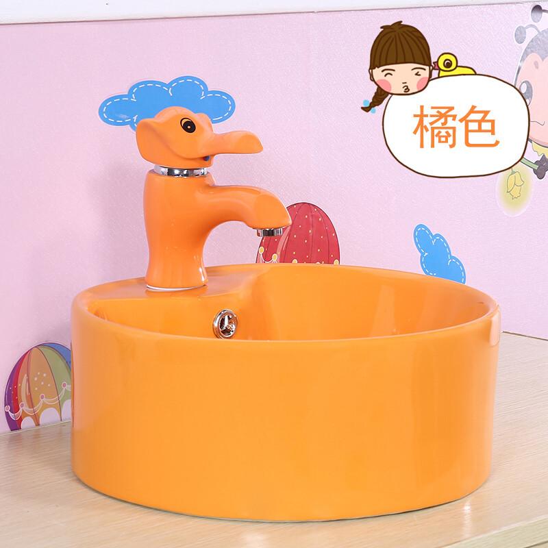 幼儿园洗手盆儿童彩色洗脸盆陶瓷龙头小尺寸面台上盆工程