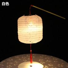 圆柱冬瓜型镂空纸灯笼儿童舞蹈手提发光灯笼汉服拍摄道具古风花灯白色图片