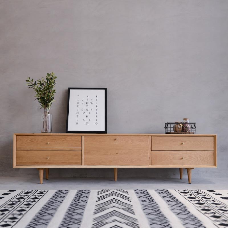 北欧电视柜简约现代小户型客厅茶几组合白橡木视听柜日式实木家具