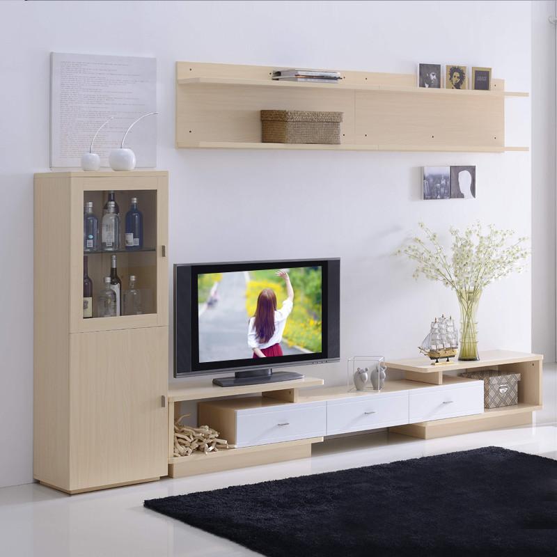 客厅可伸缩电视柜茶几组合简约现代电视柜背景墙柜吊柜斗柜储物柜