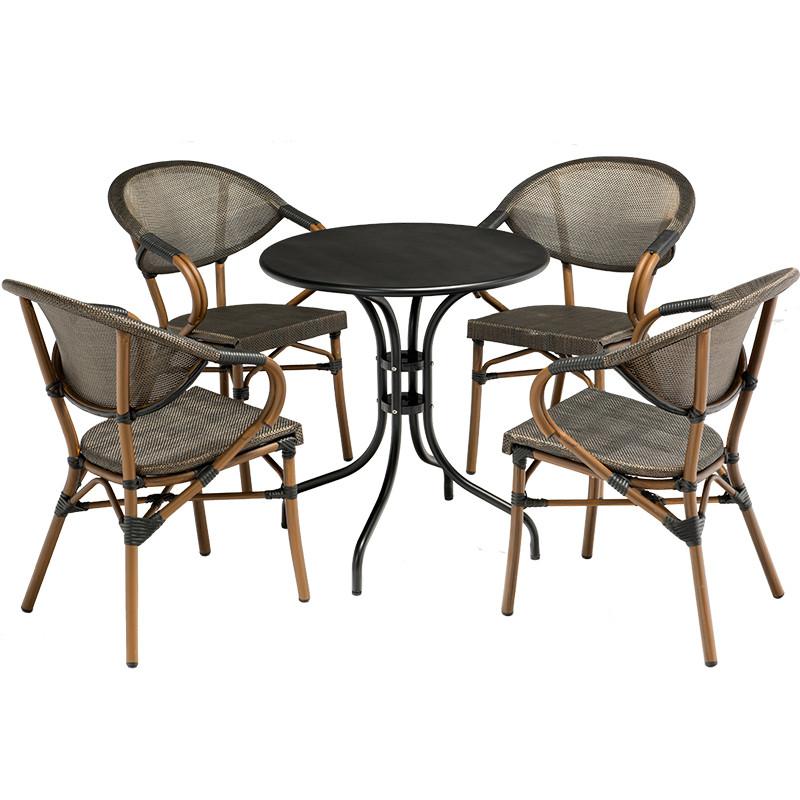 户外桌椅 咖啡桌椅阳台休闲家具 网布椅 花园露天铁艺
