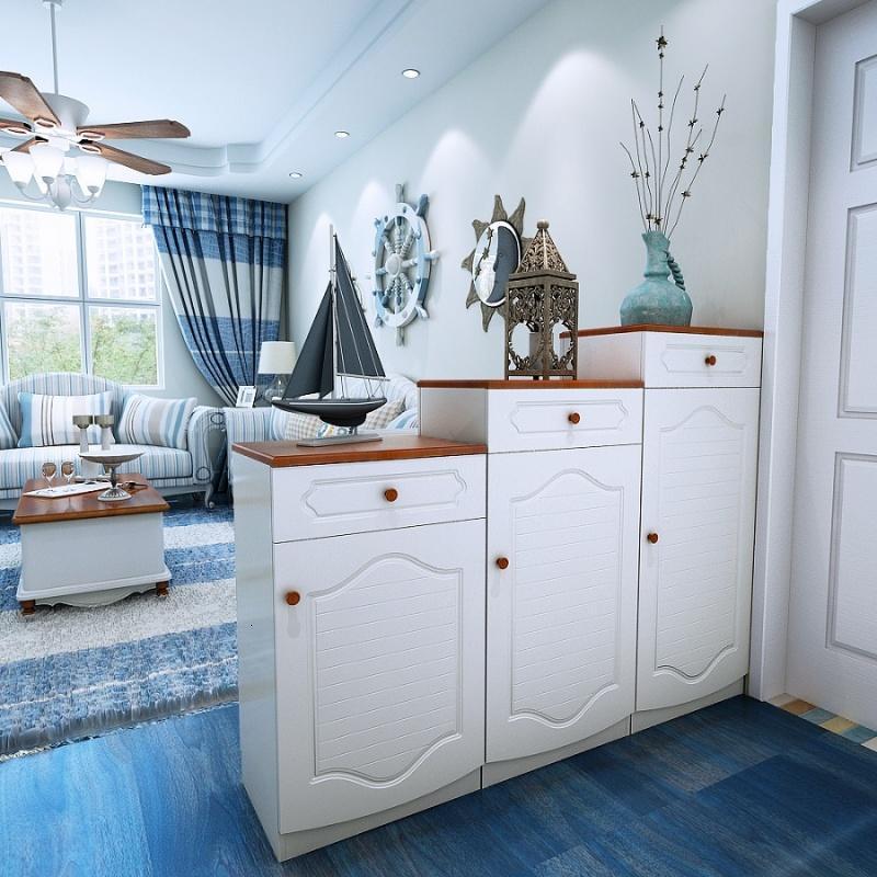 鞋柜 双面烤漆美式地中海实木组合鞋柜 欧式玄关隔断门厅酒柜图片