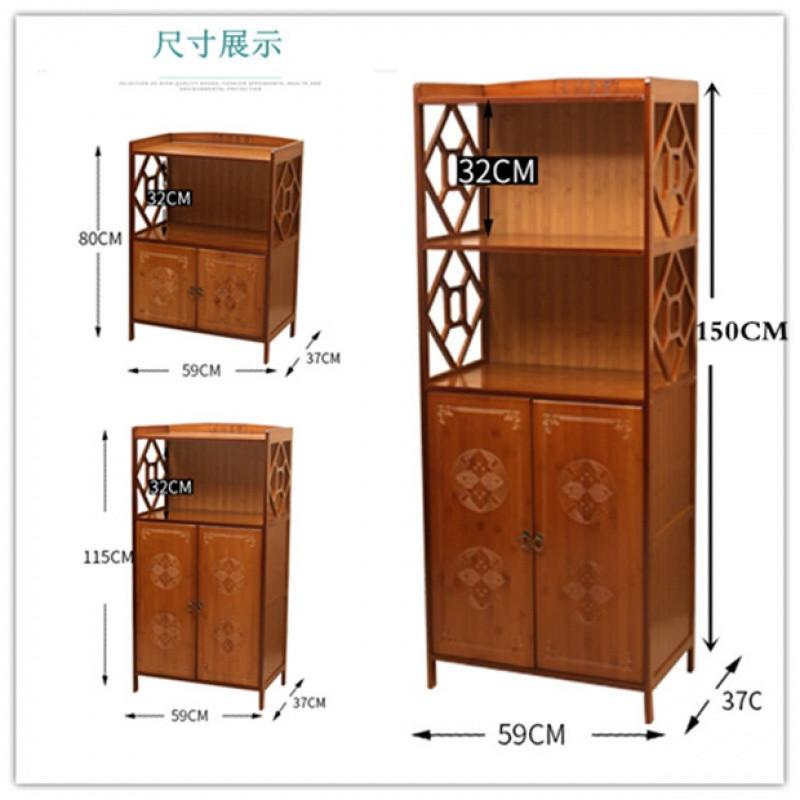 餐边柜雕花橱柜楠竹简约厨房柜子简易置物架现代收纳茶水柜
