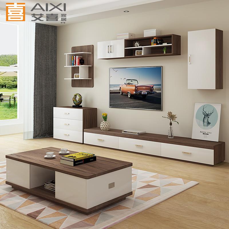 北欧电视背景柜现代简约电视墙柜吊柜影视墙套装电视茶几组合柜