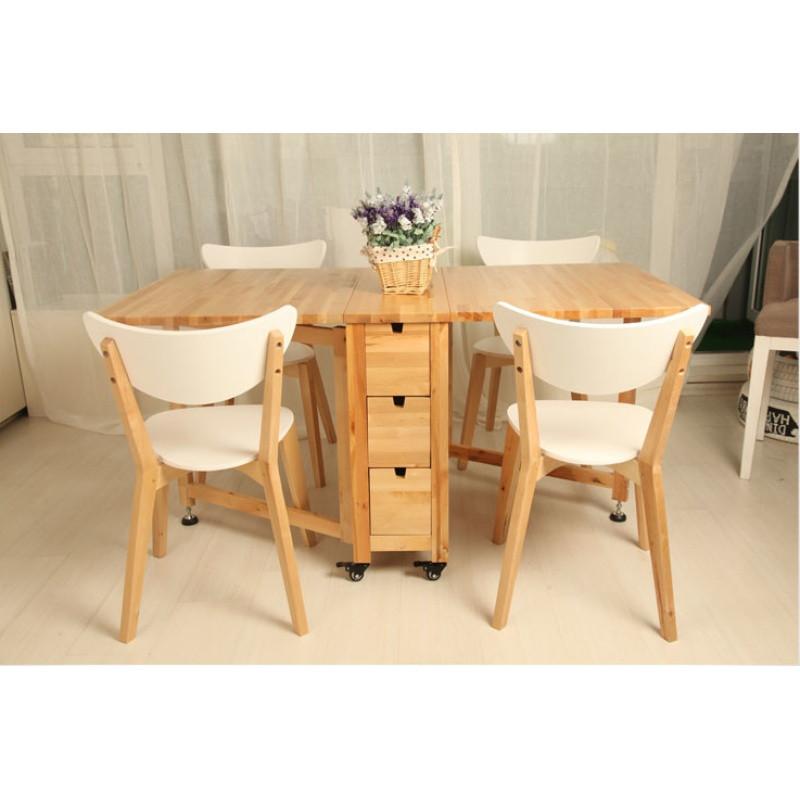 实木折叠餐桌宜家小户型桌折叠桌椅组合长方形可伸缩桌诺顿蝴蝶桌