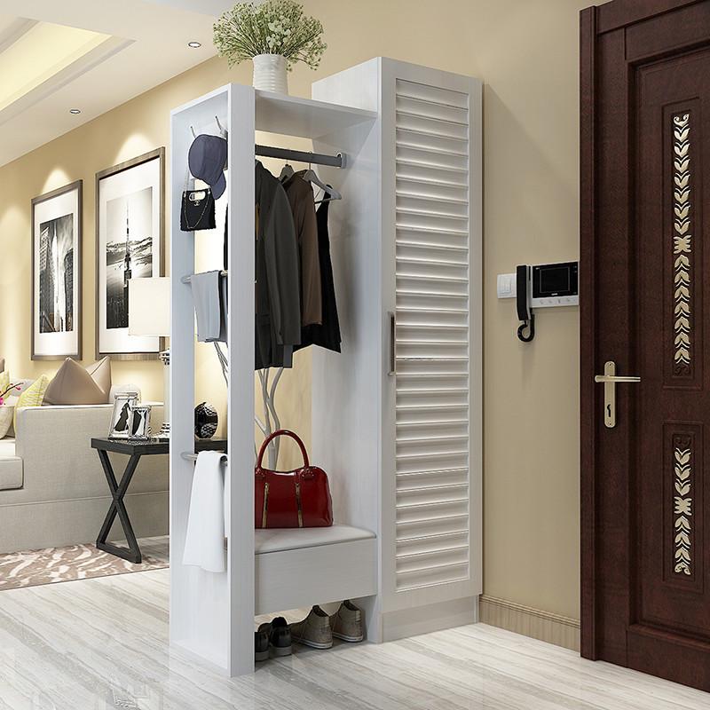 现代简约鞋柜门厅柜衣帽柜挂衣架双面玄关隔断柜穿衣镜储物柜组装