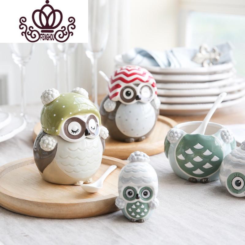 卡通可爱猫头鹰动物陶瓷桌面摆件 装饰品杯子水壶调味