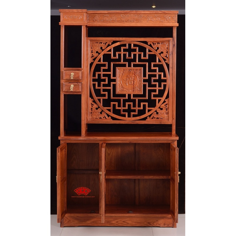 红木玄关柜 客厅实木屏风隔断双面鞋柜 花梨木隔断 酒柜门厅