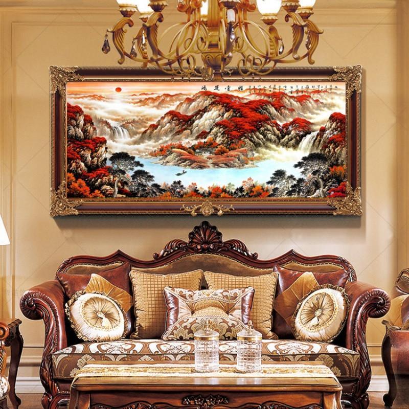 新款5d钻石画风景画鸿运当头十字绣客厅大幅山水办公室客厅画满钻