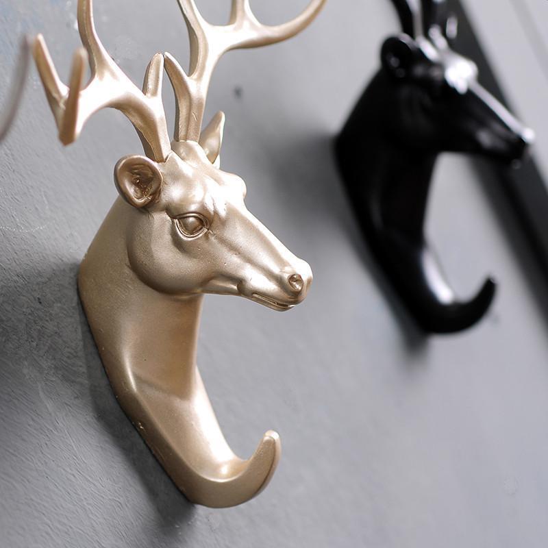 欧式鹿头动物装饰挂钩创意个性墙面上壁挂钥匙客厅卧室简约衣帽钩