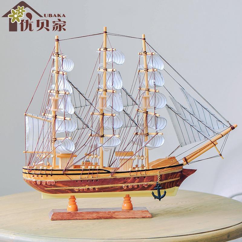 黑珍珠号帆船模型 地中海原木大号帆船摆件 手工制作工艺船模型