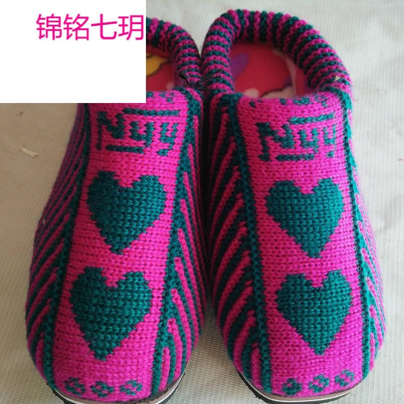 锦铭七玥女式低帮拖鞋 手工编织毛线棉鞋 加厚保暖棉拖鞋厂