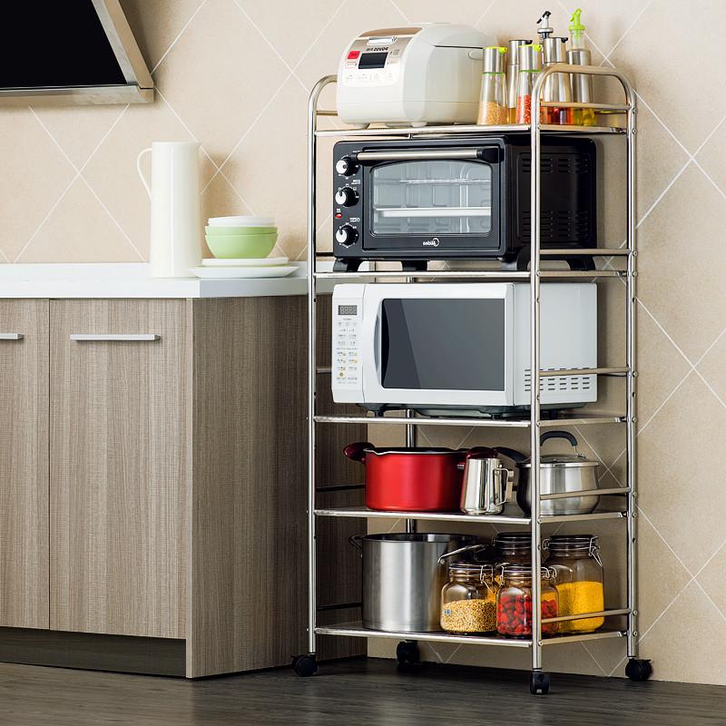 厨房置物架微波炉架落地多层不锈钢厨房用品收纳储物架图片