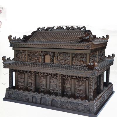 骨灰盒骨灰坛棺材墓地手工雕刻中式灵位精雕白事黑檀木棺木