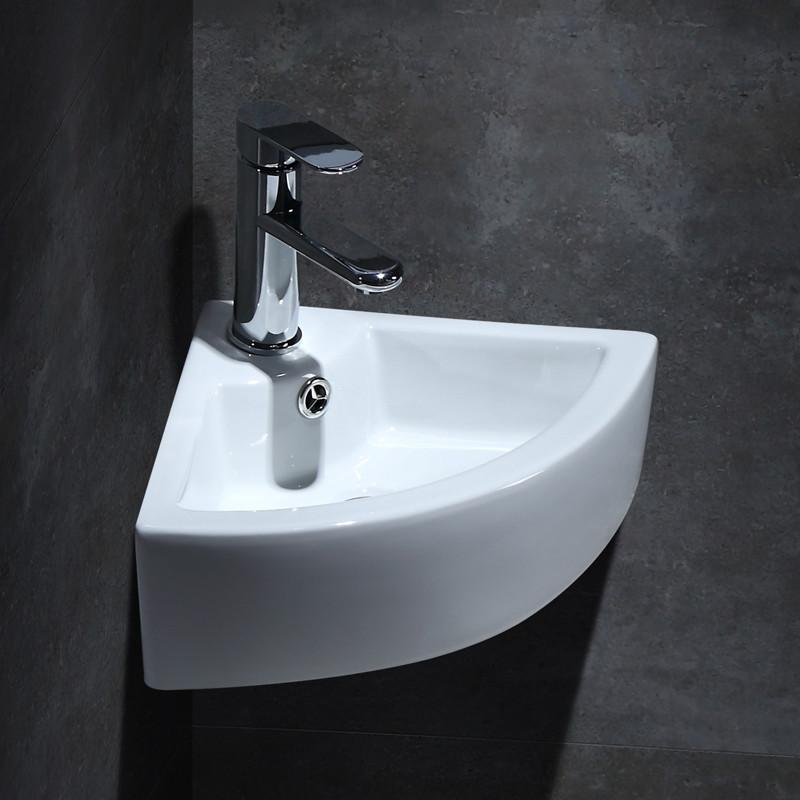 三角盆洗手池浴室陶瓷固定转角简约加厚洗面盆洗澡间洗脸盆加厚图片
