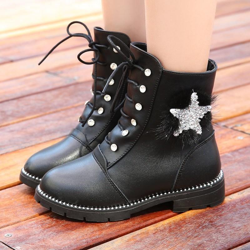 女童马丁靴儿童靴子短靴秋冬棉鞋2017新款雪地靴小女孩加绒中筒靴
