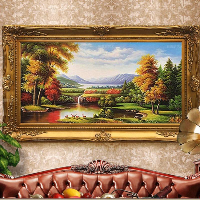 里伍欧式手绘山水风景油画鹿客厅装饰画玄关壁画餐厅沙发挂画定制