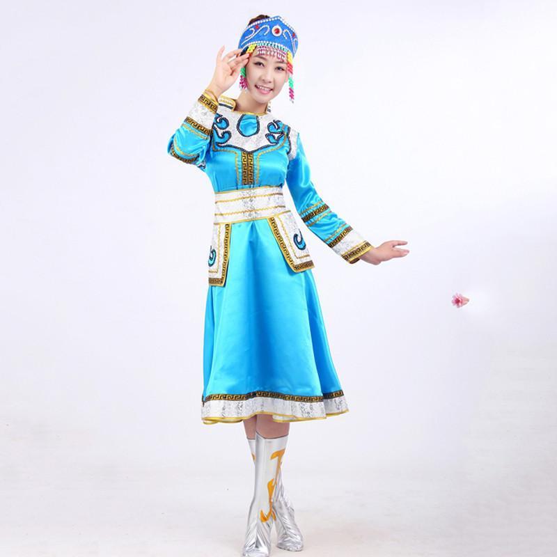 蒙古藏族苗族表演服高山族民族舞蹈服装广场舞服舞台女装裙袍