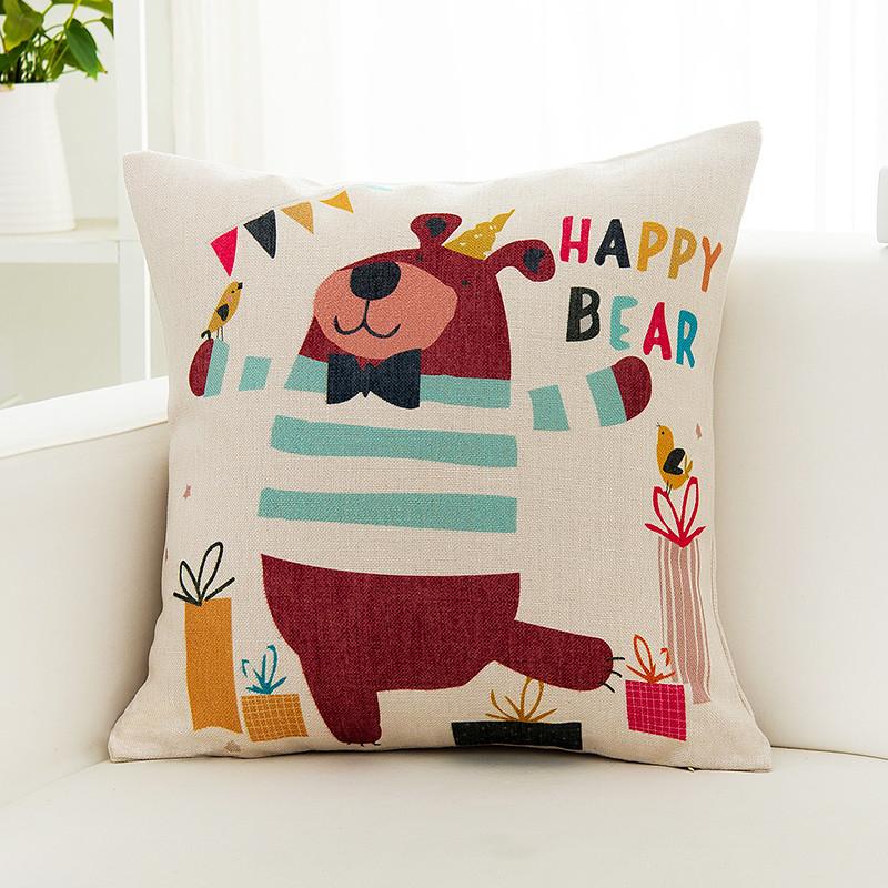 日式可爱客厅沙发抱枕正方形韩版亚麻靠垫靠枕套子不含芯棉麻布艺