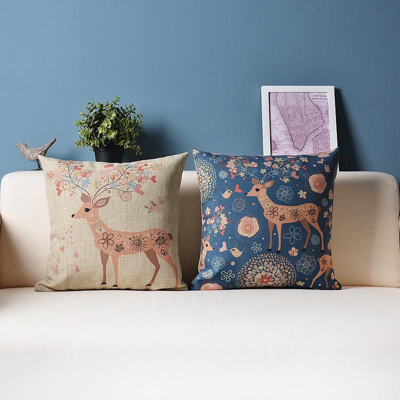 美式田园文艺棉麻抱枕沙发靠垫小清新家居办公室靠枕套汽车用靠背图片