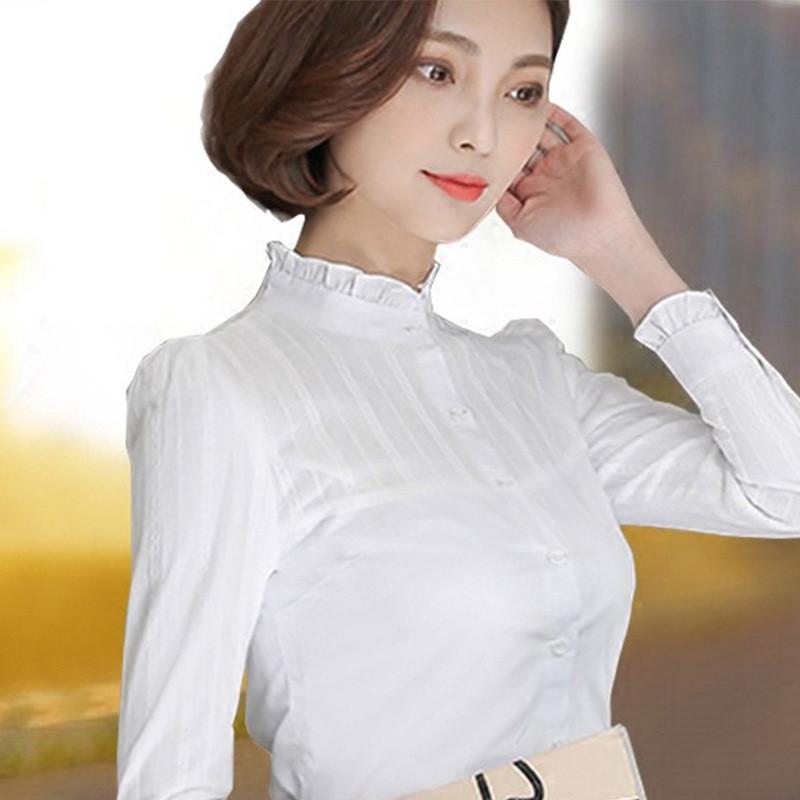 立领棉衬衫女