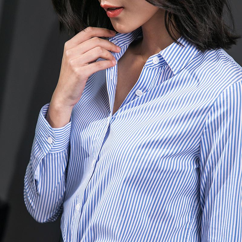 2018春季小清新上衣女士衬衫蓝白色竖条衬衫v领衬衣女装长袖