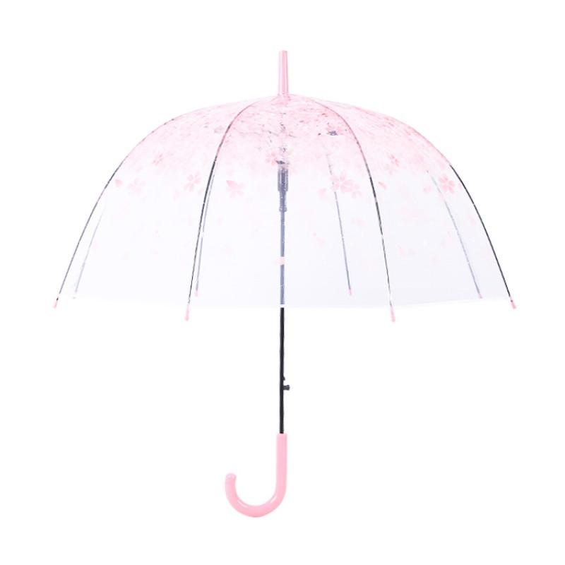 日系透明伞雨伞长柄伞可爱小清新学生韩版公主儿童女神樱花伞