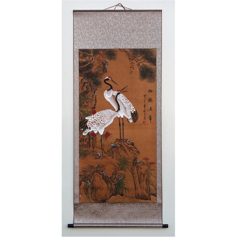 松鹤延年 寿桃 仙鹤 松树 仿古画国画 祝寿中式风格客厅中堂字画